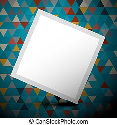 Vector Blue Triangles Background with Empty White Paper Label