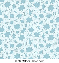 Vector Blue Tropical Flowers Texture Seamless Pattern