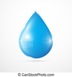 Vector Blue Vector Water Drop Isolated on White Background