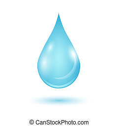 Vector blue water drop isolated on white background.