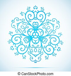 vector blue watercolor snowflake