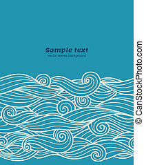 Vector blue waves seamless pattern border background
