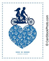 Vector blue white lineart plants couple on tandem bicycle...