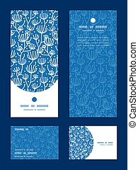 Vector blue white lineart plants vertical frame pattern...