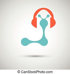 vector blue with headphones on white background