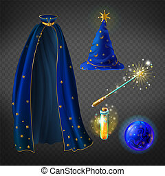 Vector blue wizard costume, set with accessories