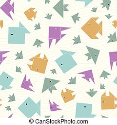 Vector Blue, Yellow, Purple, and Green Fish on White Background Seamless Repeat Pattern. Background for textiles, cards, manufacturing, wallpapers, print, gift wrap and scrapbooking.