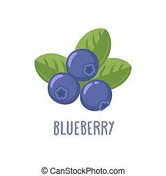 Vector blueberry icon. Flat cartoon illustration