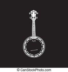 Vector illustration of banjo. Bluegrass banjo white template on black background.