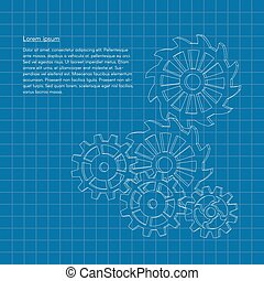 Vector blueprint background with gears or cogwheels