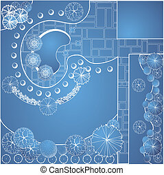 Vector blueprint of garden plan - Vector blueprint of...