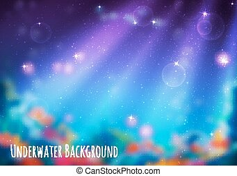 Vector blur background with underwater cave - Vector...