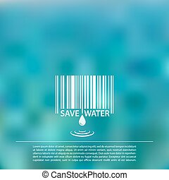 Vector blurred sea background with save water barcode label