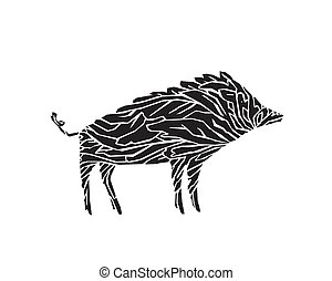 Vector boar illustration isolated on white