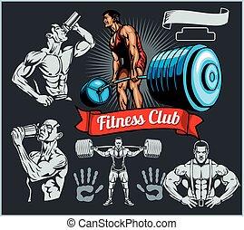 vector, bodybuilder, set, -, barbell