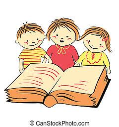 vector, boek, kinderen, lezende