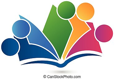 vector, boek, logo, teamwork, opleiding
