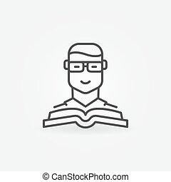 vector, boek, pictogram, man