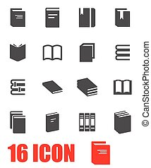 vector, boek, set, grijze , pictogram