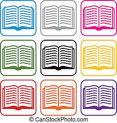 vector, boek, symbolen