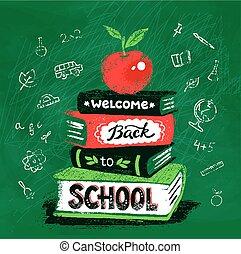 vector, boekjes , appel, illustratie