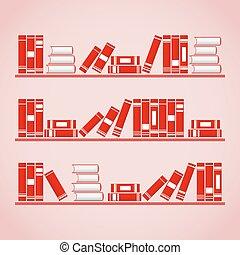 vector, boekjes , illustratie, shelves.