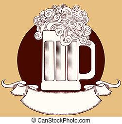 vector, boekrol, glas, beer., grafisch, tekst, illustratie