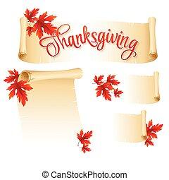 vector, boekrol, leaves., herfst, illustratie, dankzegging