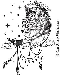 Vector boho cat tattoo or t-shirt print design