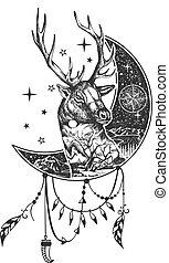 Vector boho deer tattoo or t-shirt print design