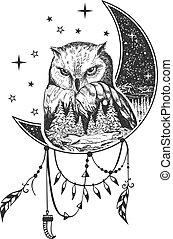 Vector boho owl tattoo or t-shirt print design