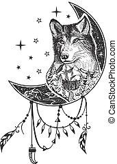 Vector boho wolf tattoo or t-shirt print design