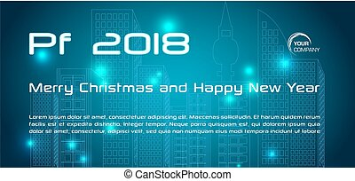 Vector bokeh 2018 happy new year card in blue color with city silhoutte
