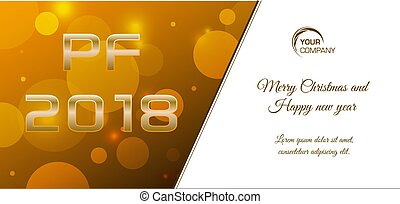 Vector bokeh 2018 happy new year card in gold color
