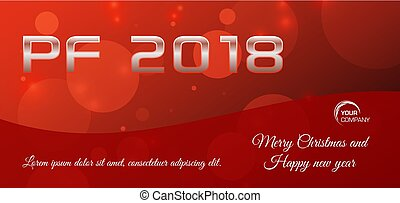 Vector bokeh 2018 happy new year card in red color