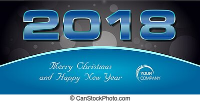 Vector bokeh 2018 happy new year card with blue text on dark background