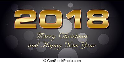 Vector bokeh 2018 happy new year card with gold text on dark background