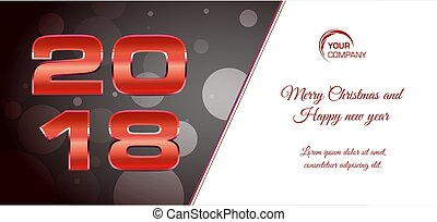 Vector bokeh 2018 happy new year card with red text on dark background
