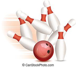 vector, bola de bowling, y, alfileres