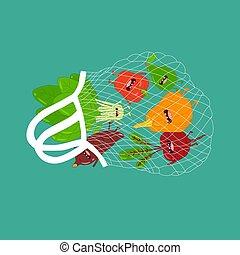 vector, bolsa, divertido, vegetables., illustration., malla