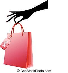 vector, bolso de compras, rojo, mano