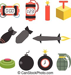 Vector bomb and dynamite icons set,flat design