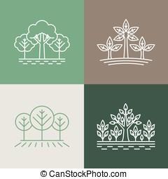vector, bomen, en, parken, logo, ontwerp onderdelen, in, lineair, stijl, -, ab