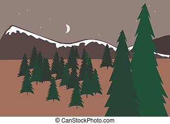 vector, bomen, landscape, berg, illustratie