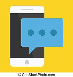 vector, boodschap, smartphone, pictogram
