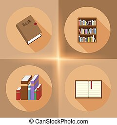 Vector book flat icons