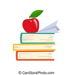 Vector book Icon. Books in various angles. Stack of colored books with apple.