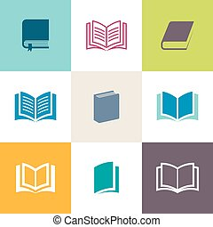 Vector book icons collection