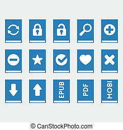 Vector book icons set in 'flat' style