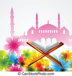 vector book of quran - beautiful background of mosque with...